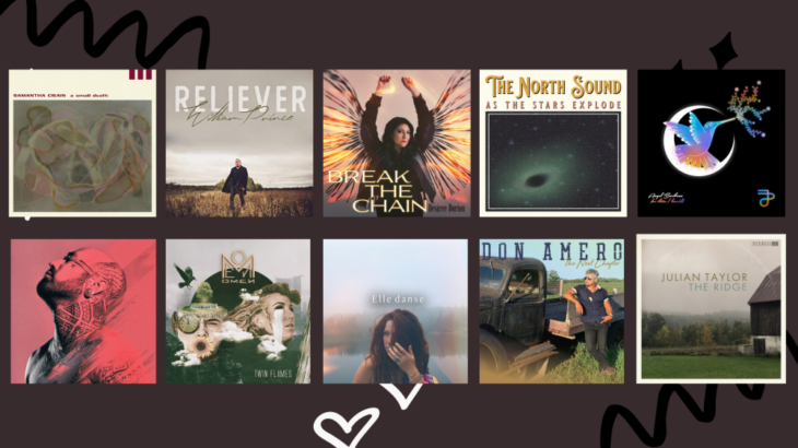10 album covers in two rows against a dark background
